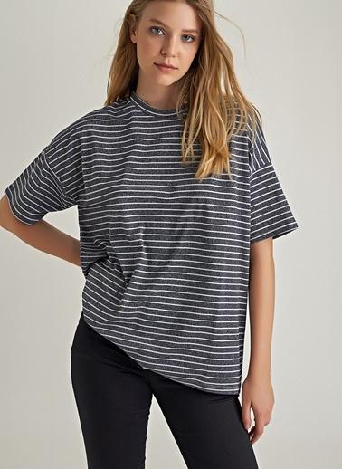 Ng Style Simli Çizgili Basic Bluz Siyah
